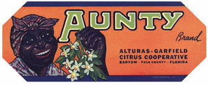 Aunty Brand Vintage Bartow Florida Citrus Crate Label, s