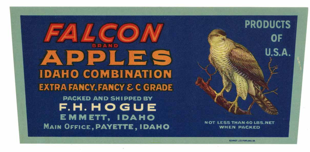 Falcon Brand Vintage Emmett Idaho Apple Crate Label, border
