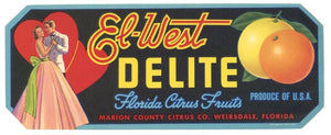 El-West Delite Brand Vintage Weirsdale Florida Citrus Crate Label, s