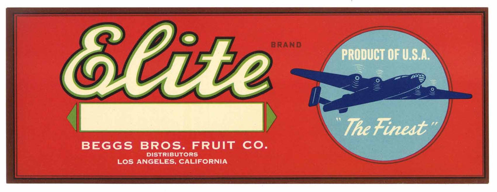 Elite Brand Vintage Produce Crate Label
