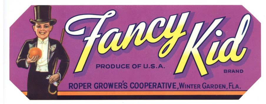 Fancy Kid Brand Vintage Winter Garden Florida Citrus Crate Label
