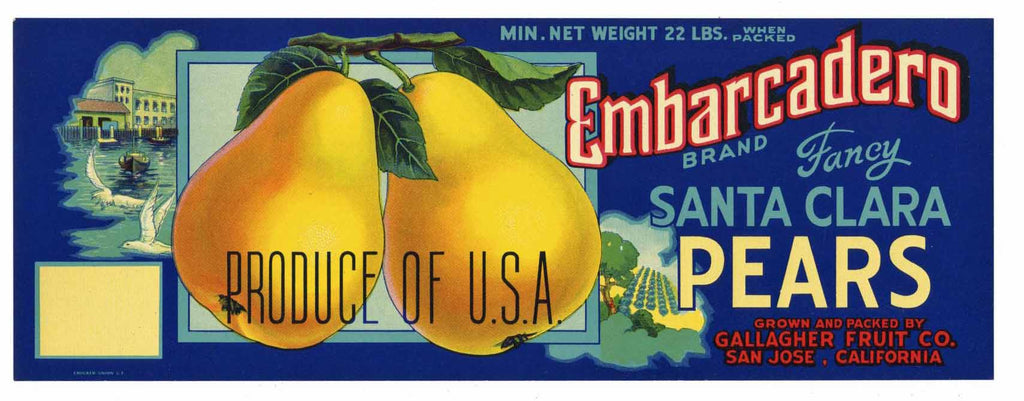 Embarcadero Brand Vintage Pear Crate Label, lug