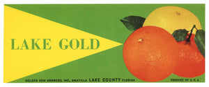 LAKE GOLD Brand Vintage Umatilla Florida Citrus Crate Label
