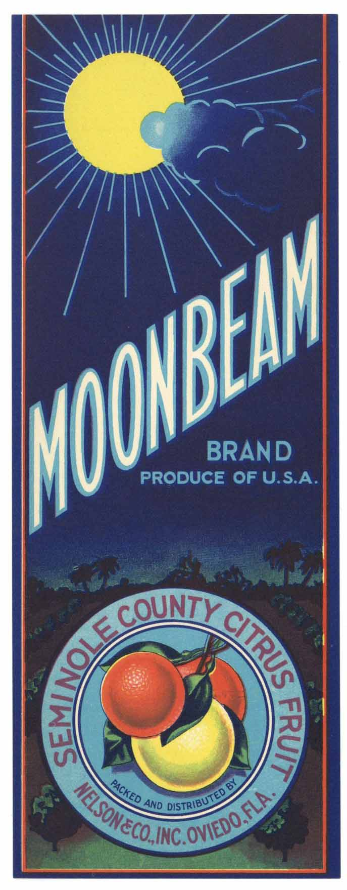 Moonbeam Brand Vintage Oviedo Florida Citrus Crate Label, vertical