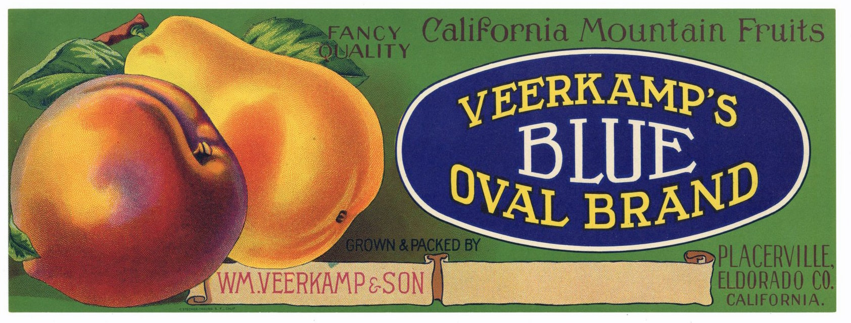 BLUE OVAL Brand Vintage Fruit Crate Label (LS1172)