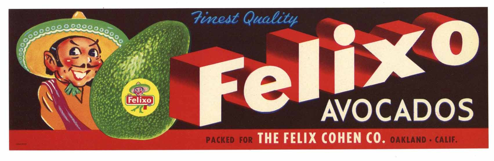 Felixo Brand Vintage Avocado Crate Label