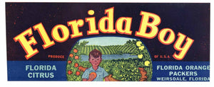 Florida Boy Brand Vintage Weirsdale Florida Citrus Crate Label