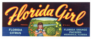 Florida Girl Brand Vintage Weirsdale Florida Citrus Crate Label