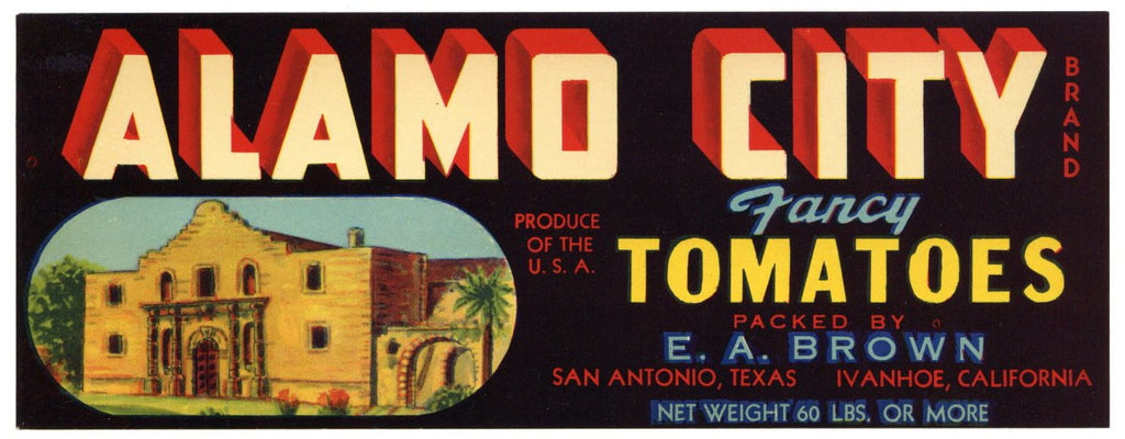 Alamo City Brand Vintage San Antonio Texas Tomato Crate Label