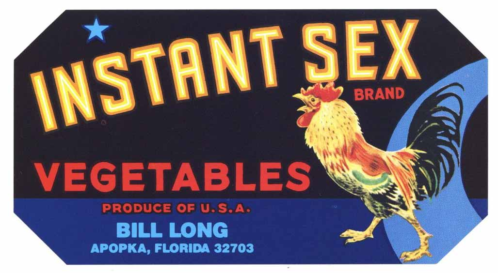 Instant Sex Brand Vintage Florida Vegetable Crate Label