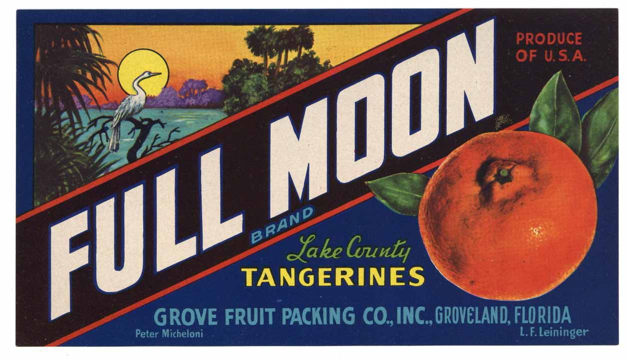 Full Moon Brand Vintage Groveland Florida Citrus Crate Label, o