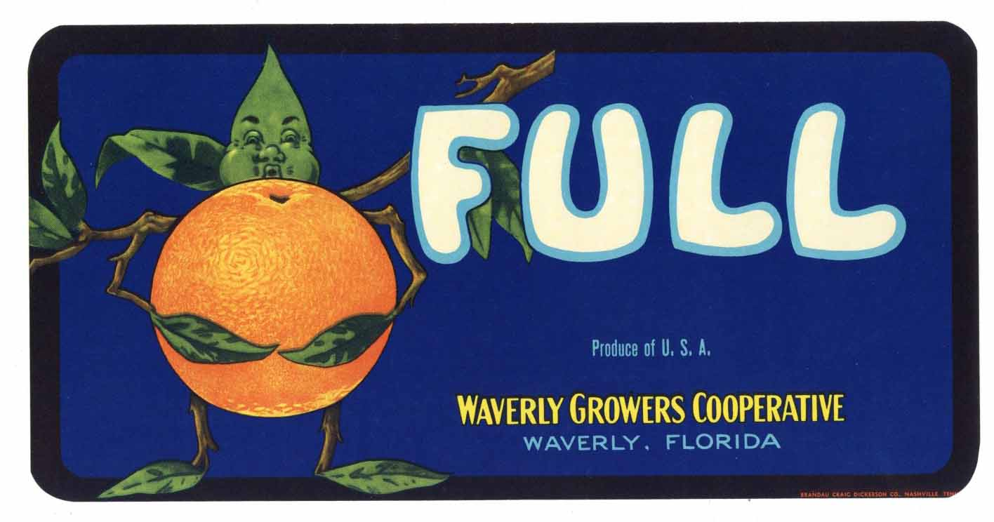 Full Brand Vintage Waverly Florida Citrus Crate Label, s