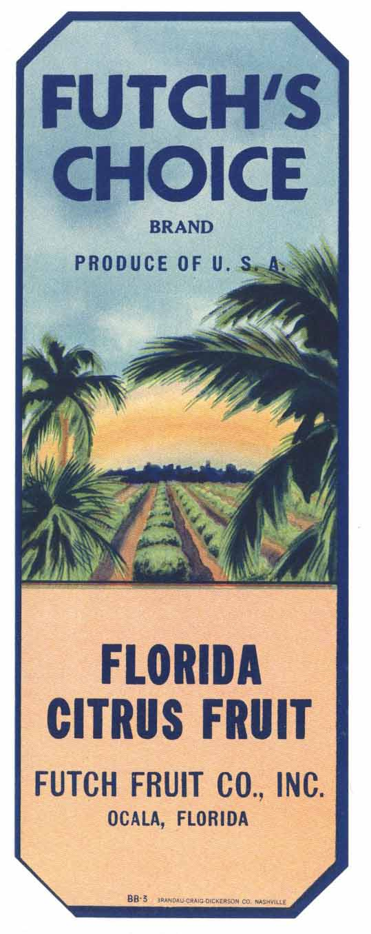 Futch's Choice Brand Vintage Florida Citrus Crate Label