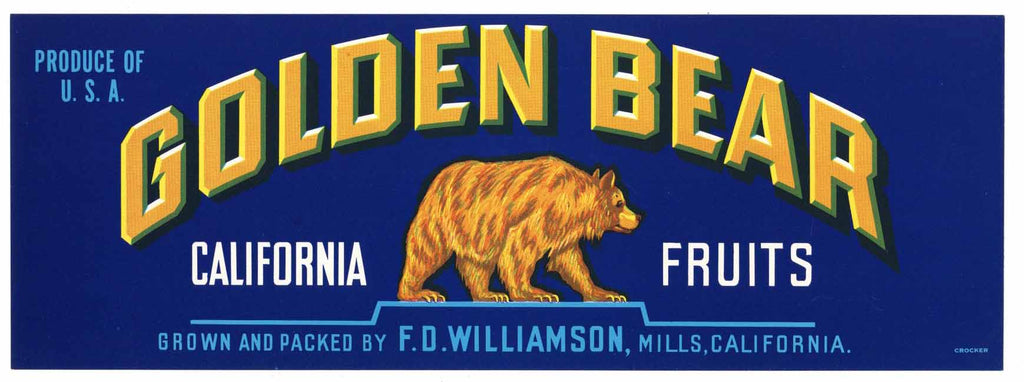 Golden Bear Brand Vintage Fruit Crate Label