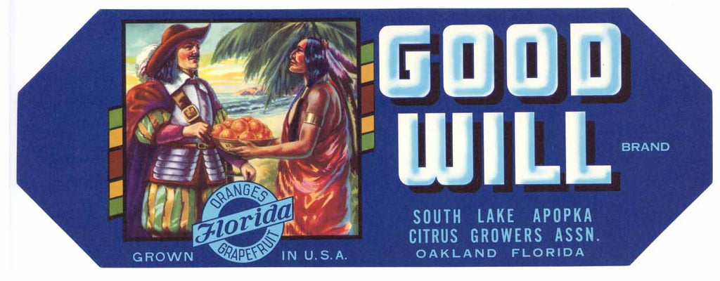 Good Will Brand Vintage Florida Citrus Crate Label, s
