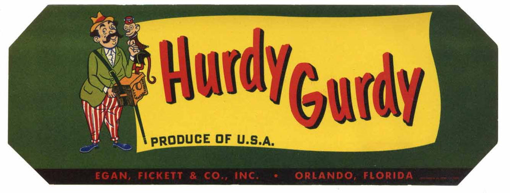 Hurdy Gurdy Brand Vintage Orlando Florida Citrus Crate Label