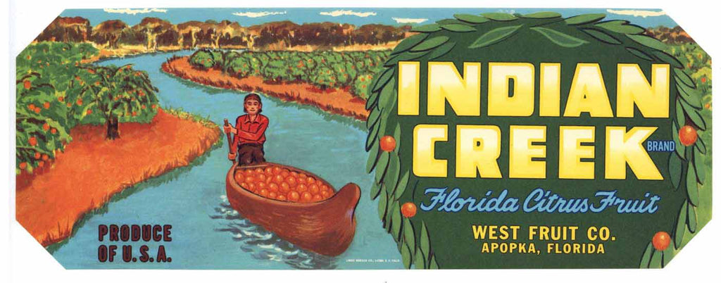 Indian Creek Brand Vintage Apopka Florida Citrus Crate Label