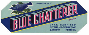 Blue Chatterer Brand Vintage Bartow Florida Citrus Crate Label