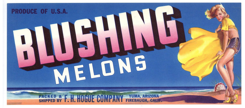 Blushing Brand Vintage Yuma Arizona Melon Crate Label