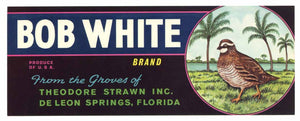 Bob White Brand Vintage Florida Citrus Crate Label