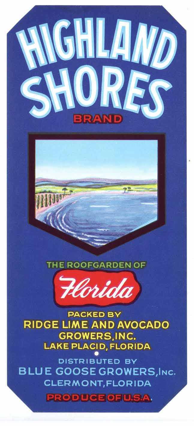 Highland Shores Brand Vintage Lake Placid Florida Citrus Crate Label