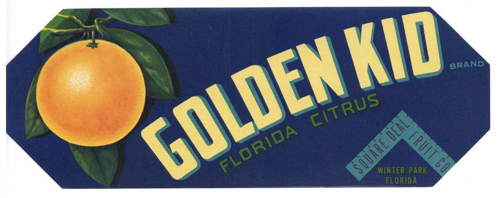 Golden Kid Brand Vintage Winter Park Florida Citrus Crate Label