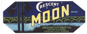 Crescent Moon Brand Vintage Crescent City Florida Citrus Crate Label, s