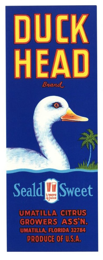 Duck Head Brand Vintage Umatilla Florida Citrus Crate Label, v