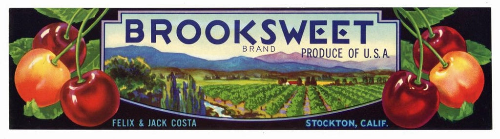 Brooksweet Brand Vintage Cherry Crate Label