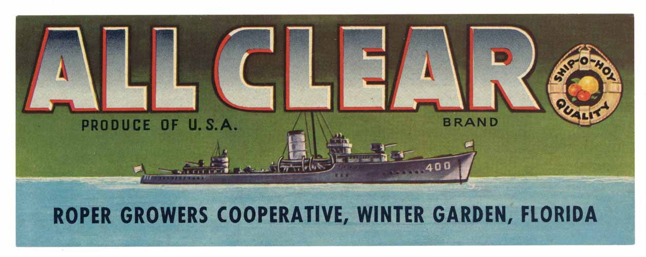 All Clear Brand Vintage Winter Garden Florida Citrus Crate Label