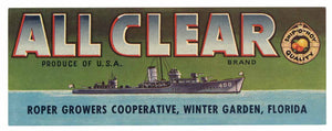 ALL CLEAR Brand Vintage Florida Citrus Crate Label (LS980)