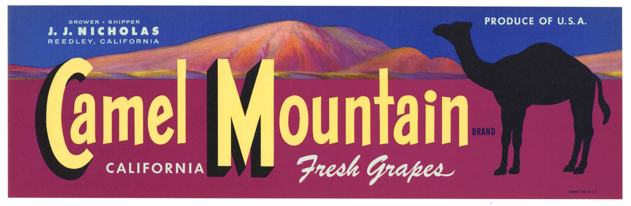 Camel Mountain Brand Vintage Reedley Grape Crate Label