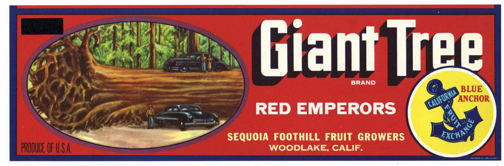 Giant Tree Brand Vintage Grape Crate Label