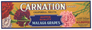 Carnation Brand Vintage Malaga Grape Crate Label