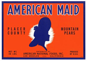 American Maid Brand Vintage Placer County California Pear Crate Label