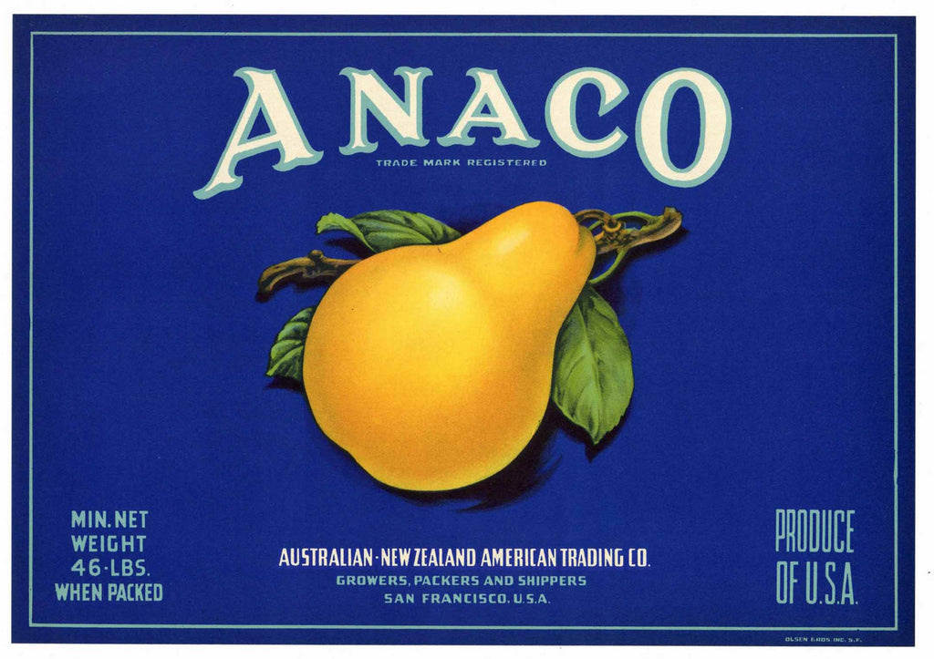 Anaco Brand Pear Crate Label, Blue