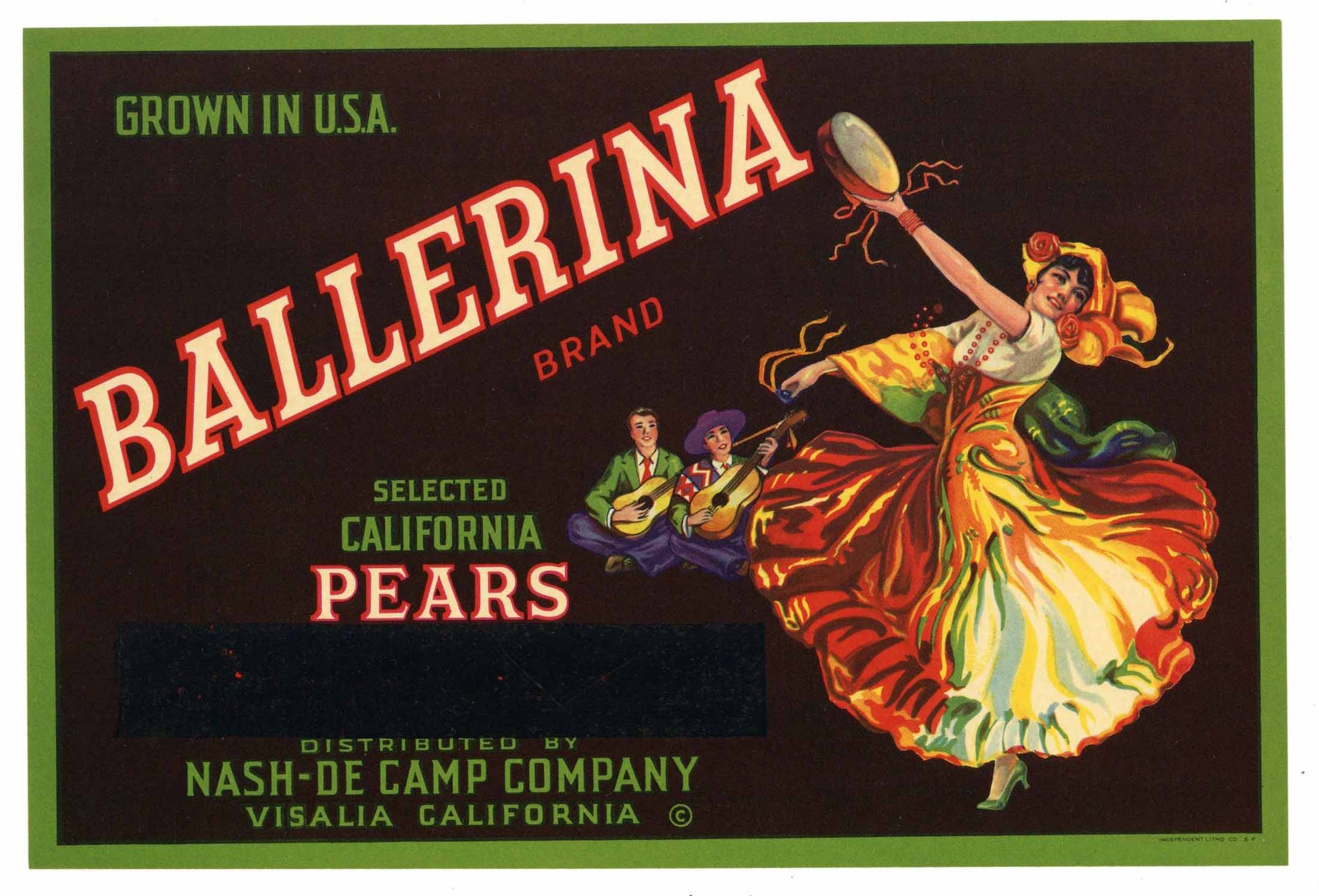 Ballerina Brand Vintage Pear Crate Label