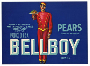 Bellboy Brand Vintage Washington Pear Crate Label