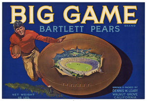 Big Game Brand Vintage Sacramento Delta Pear Crate Label