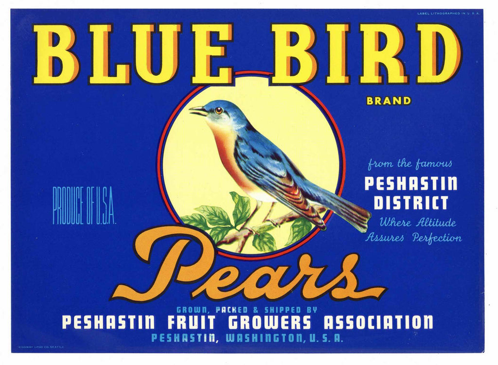 Blue Bird Brand Vintage Peshastin Washington Pear Crate Label