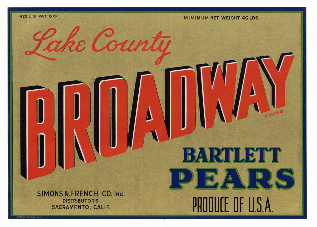 Broadway Brand Vintage Lake County California Pear Crate Label