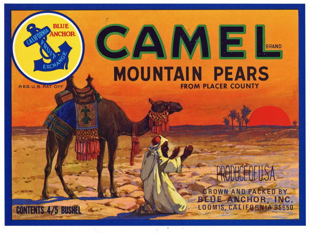 Camel Brand Vintage Loomis Placer County Pear Crate Label
