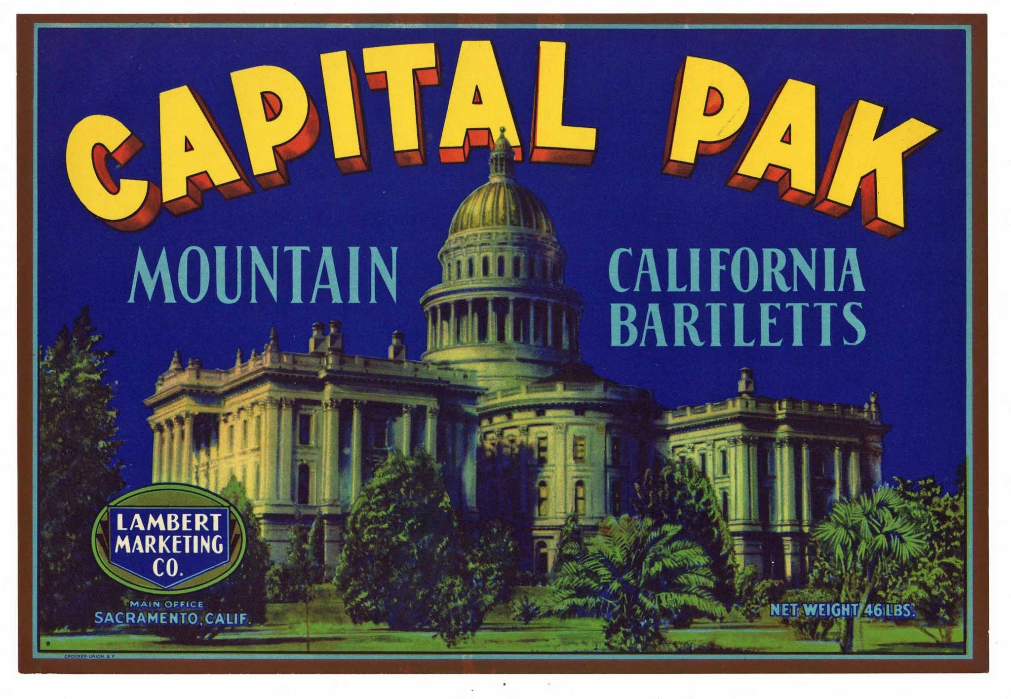 Capital Pak Brand Vintage Sacramento Pear Crate Label