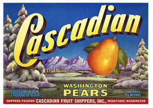 Cascadian Brand Vintage Wenatchee Washington Pear Crate Label