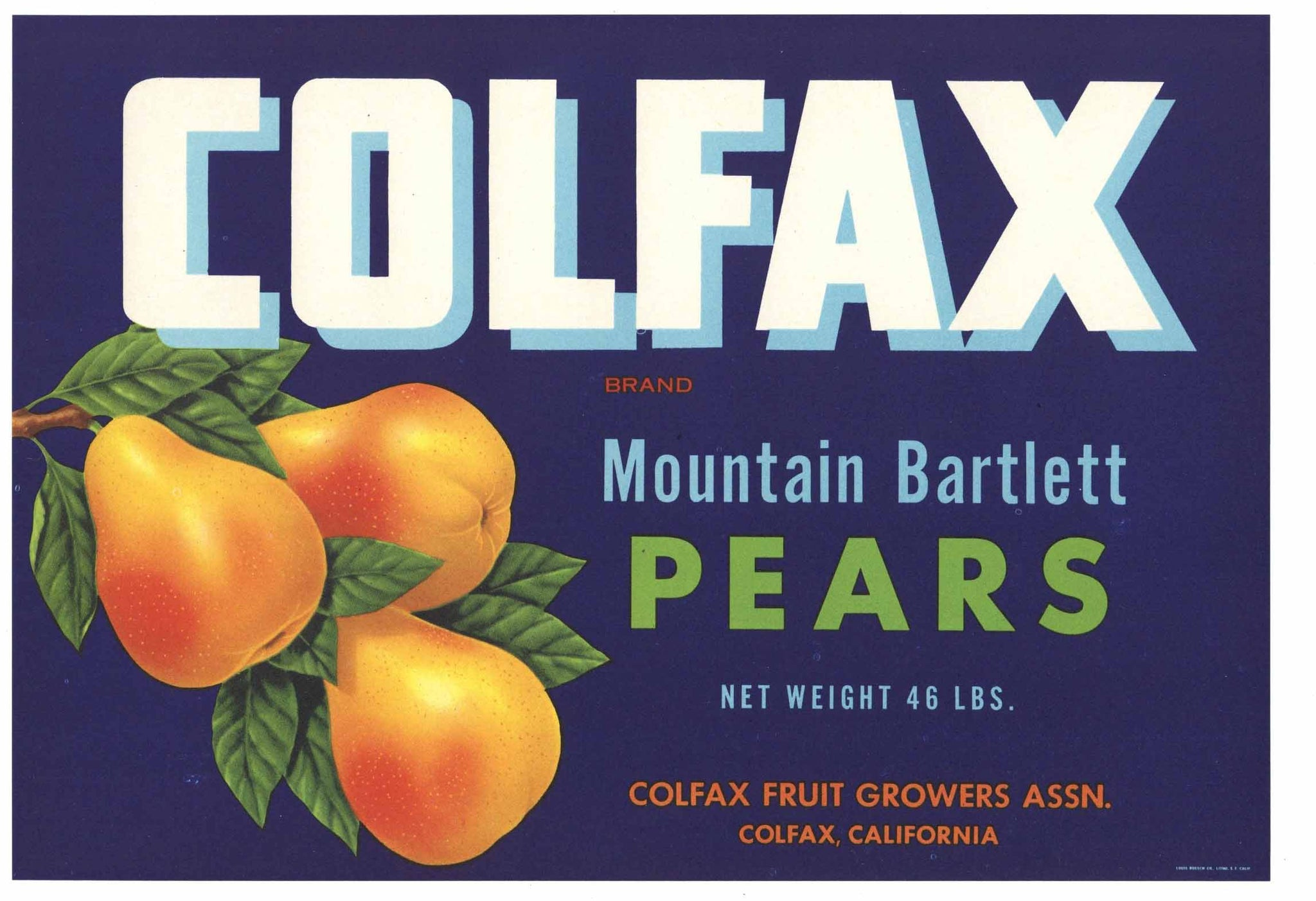 Colfax Brand Vintage Placer County California Pear Crate Label, blue