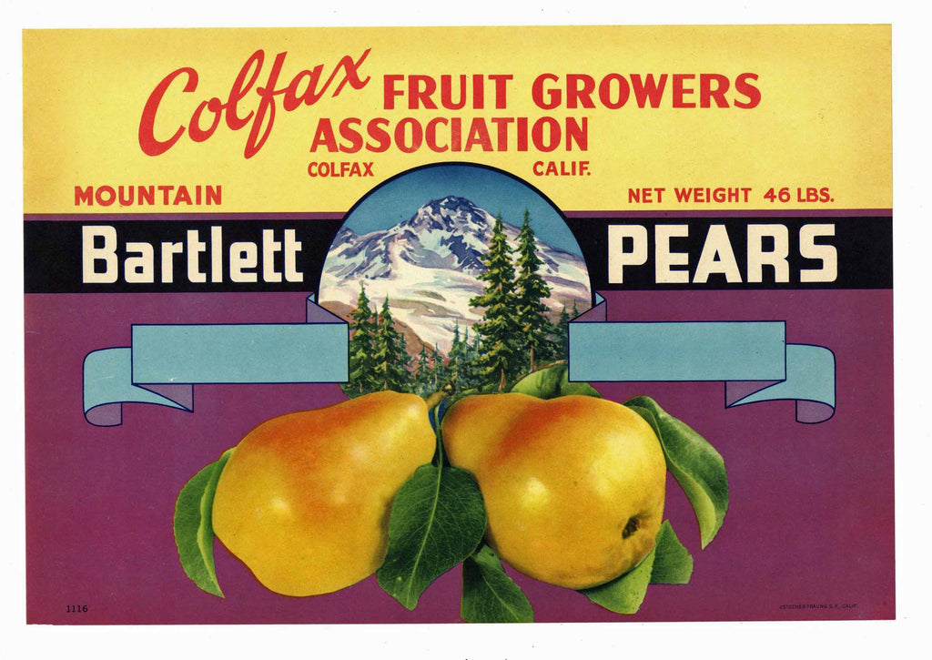 Colfax Brand Vintage Placer County Pear Crate Label, s