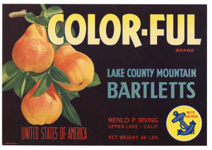Color-Ful Brand Vintage Lake County California Pear Crate Label
