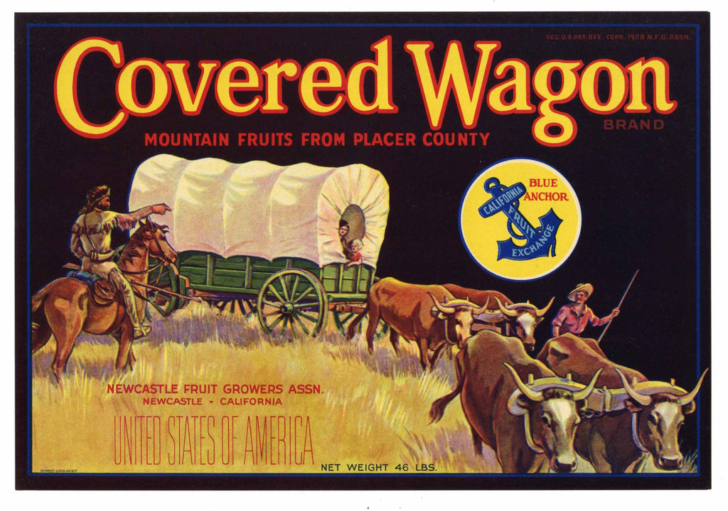 Covered Wagon Brand Vintage Newcastle California Pear Crate Label