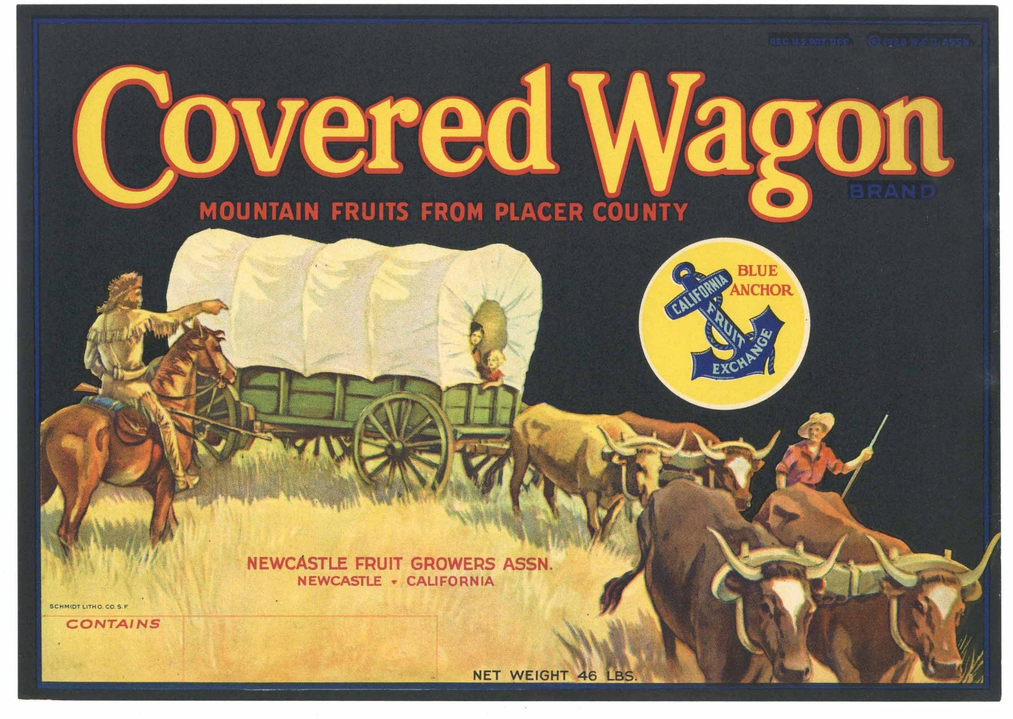 Covered Wagon Brand Vintage Newcastle California Pear Crate Label, old