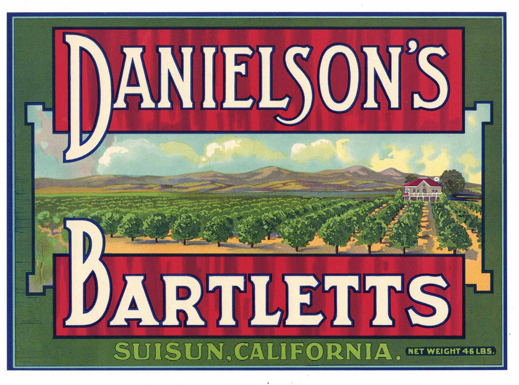 Danielson's Brand Vintage Suisun California Pear Crate Label